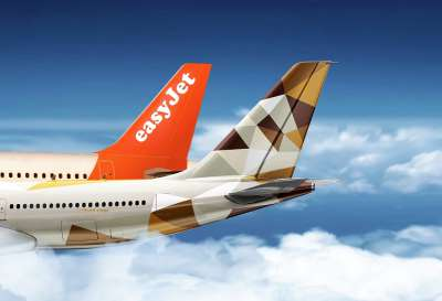 Etihad Airways and Easyjet tails