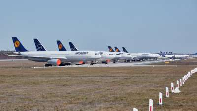 Grounded Lufthansa aircraft