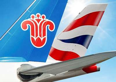 British Airways and China Southern Airlines tails